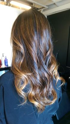 Caramel blonde balayage highlights on asian hair