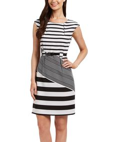 Look at this Black & White Stripe Belted Sheath Dress on #zulily today!