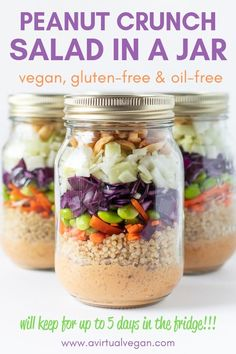 A healthy, super tasty lunch doesn't get any easier than this Peanut Crunch Salad in a Jar. Make up a bunch of them while meal prepping on Sunday and you will have grab-and-go lunches all ready in the fridge for your week ahead! #saladinajar #salad #mealprep Lunch Recipes, Whole Food Recipes, Veg Salad Recipes, Vegetarian Recipes, Healthy Recipes, Cooking Recipes, Jar Recipes, Healthy Salads, Healthy Protein