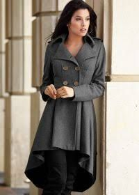 black trench coat with pattern on back - I like the high low hem and the way it flows at the bottom.