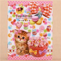 cute kitten dessert sticker album book 1