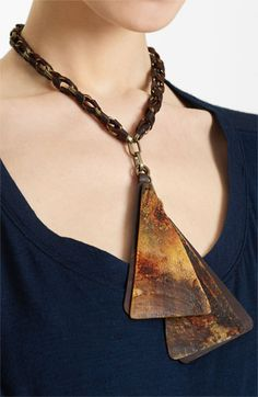 Urban Zen Leather & Horn Triangle Necklace | Nordstrom.  THIS IS INCREDIBLE. So tired of the same old colored crystal and metal. THIS IS CAPTIVATINGLY original!