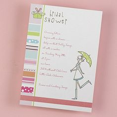 Gift and Stripes - Bridal Shower Invitation - Bright White weddingneeds.carlsoncraft.com