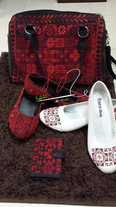 Palestinian embroidery bag .. shoes .. purse