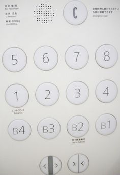 Elevator buttons.
