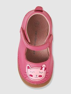 Baby Girls Leather Bootees - pink dark solid with design, Shoes Baby Comforter, Barefoot, Baby Shoes, Slippers, Flats, Medium, Sneakers, Pink, Leather