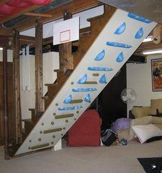 climbing wall under basement stairs Home Climbing Wall, Stair Climbing, Rock Climbing, Under Basement Stairs, Basement Gym, Ninja Warrior Gym, Loft Industrial, Bouldering Wall, Kids Schedule