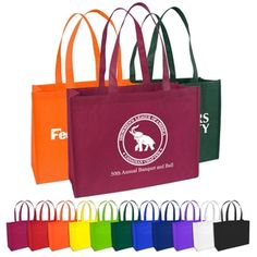 The Medium Size Eco-Friendly Non-Woven Shopping Tote is among our best discount logo printed recycled tote bags. 22 inch handles & your choice of many colors. Promotional Bags, Promotional Giveaways, Custom Tote Bags, Personalized Tote Bags, Non Woven Bags, Quality Logo Products, Shopper Bag, Medium Bags, Paper Shopping Bag