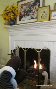 Winter Comforts ~ feet by the fire http://ourfairfieldhomeandgarden.com/winter-comforts-at-our-fairfield-home-garden/