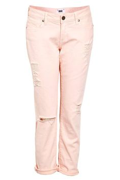 Paige Denim distressed boyfriend jeans in a perfect shade of pale pink