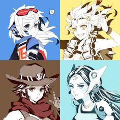 Overwatch girl (genderbend) Soldier: 76, junkrat, McCree and Symmetra