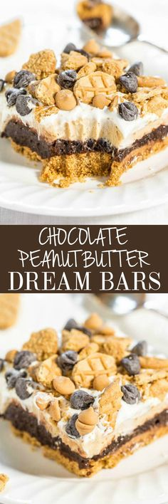 Chocolate Peanut Butter Dream Bars - Nutter Butter crust, chocolate pudding, and peanut butter cream cheese filling!! Easy, almost no-bake, and beyond AMAZING!! Lives up to their dreamy name!! Great for holiday parties! Peanut Butter Sandwich Cookies, Nutter Butter Cookies, Jell O, Unsalted Butter, Healthy Baking, No Bake Desserts, Cereal, Corn Flakes, Breakfast Cereal