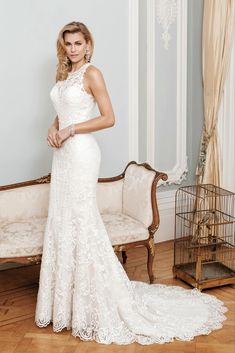 This lace halterneck wedding dress is what bridal dreams are made of! The Catalina gown by True Bride Nicki Flynn Collection Bridal Lace, Bridal Gowns, Lace Wedding, Glamorous Wedding Inspiration, Wedding Dress Outlet, True Bride, Designer Wedding Gowns, Dresses For Sale, Carlisle Cumbria