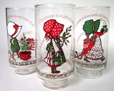 Set of 9 Vintage 1977 Holly Hobby Christmas Glasses from Coca-Cola, set of 9