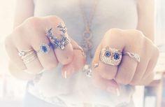 rings, cute owl & deer rings