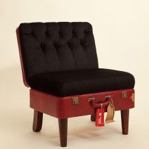 Suitcase Chair - Red Skinny – Recreate--i was just wondering about a ottoman made from trunk but here's a chair made out of old suitcase.  Larger ones on the web site.  Interesting idea
