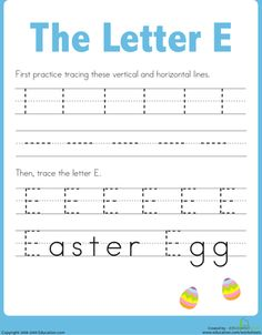 Printable Easter Worksheets: Practice Tracing the Letter E