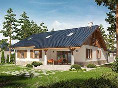 Projekt domu Rózia Energo Plus - Cabin House Plans, Dream House Plans, Small House Plans, Small Rustic House, Small Cottage Homes, Village House Design, Tiny House Design, House Wiring, House On Stilts