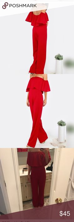 Off the shoulder red jumpsuit Stunning red jumpsuit Off the shoulder Dresses Strapless