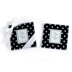Black and White Polka Dot Photo Coaster Set