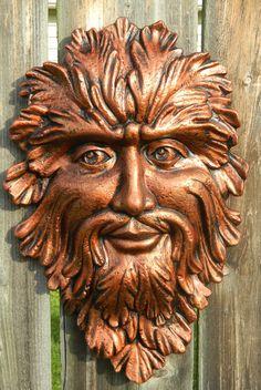 Green Man Face copper color with black by SueSueSueCrafts on Etsy, $24.00