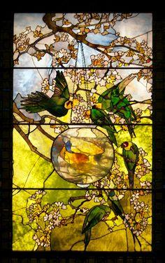 Louis Comfort Tiffany - Parakeets and Goldfish bowl