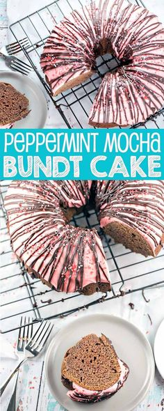 Peppermint Mocha Bundt Cake: rich chocolate cake, peppermint cream cheese frosting, and a chocolate ganache drizzle - this one-bowl mix by hand bunt cake is perfect for holiday entertaining. {Bunsen Burner Bakery} #ad #DelightfulMoments @Walmart