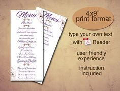 Menu printable template Instant download diy editable pdf