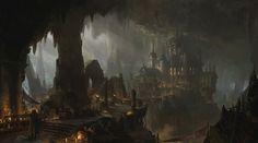 ArtStation Dark City lok du Dark city Fantasy landscape Fantasy city