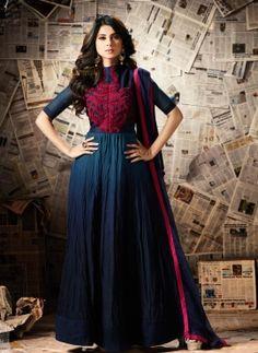 Blue banglori silk designer Jeniffre Winget anarkali dress