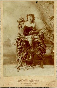 """ca. 1885, [cabinet card portrait of Millie Betra,""""The Serpant Queen"""", of the Ringling Bros.], Brown  via  Syracuse University Library, Special Collections Research Center, Ronald G. Becker Collection of Charles Eisenmann Photographs"""