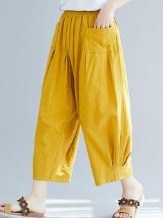 Solid Color Loose Elastic Waist Wide Leg Pants with Pockets Salwar Designs, Kurta Designs Women, Blouse Designs, Stylish Dresses For Girls, Stylish Dress Designs, Designs For Dresses, Linen Pants Women, Pants For Women, Clothes For Women