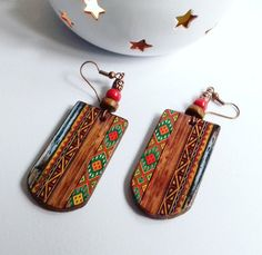 Ethnic earrings Christmas gift Folk art Traditional Earrings Wooden Gypsy Earring Gift for women Decoupage earrings Handmade Earrings Unique Wood Earrings, Unique Earrings, Etsy Earrings, Earrings Handmade, Wooden Jewelry, Leather Jewelry, Jewelry Crafts, Jewelry Art, Witch Jewelry