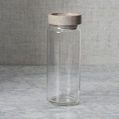 "Wood + Glass Storage Jars. Large: 3.5""D x 9.8""H; 42 oz capacity"