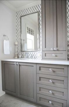 Great #bathroom #Cabinet Ideas. (but rotate top one to face sink, have it on opposite side as med cab)