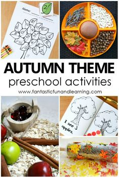 Autumn Theme Preschool Activities. Fall Theme Preschool Activities for a fun-filled autumn with preschoolers. Playful fall activities and printables about apples, leaves, trees, and pumpkins. #preschool #autumn #fall