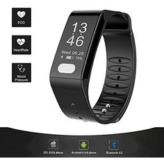 Fitness Tracker, Smart ECG Heart Rate Blood Pressure Monitor, IP66 Waterproof Smart Wristband Large Screen(0.96'')with Sleep Monitor,Sport Step Bracelet, Stay Healthy for Android 4.4 or IOS8.0(Black) ** Click image to review more details. (This is an affiliate link) #Accessories