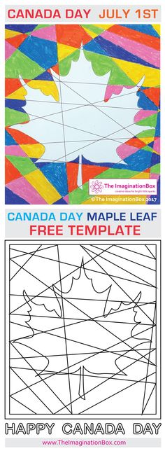 The Imagination Box FREE Celebrate Canada Day abstract Maple Leaf art activity f… - Home School Crafts For Teens, Projects For Kids, Art Projects, Art Activities For Kids, Art For Kids, Kids Fun, Canada Day Crafts, Happy Canada Day, Leaf Crafts