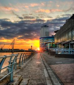 The sun going down on Salford Quays.