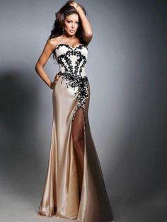 Sheath Column Brown Ivory Floor-length Appliques  Sweetheart Zipper Elastic Woven Satin Sleeveless Prom Dresses