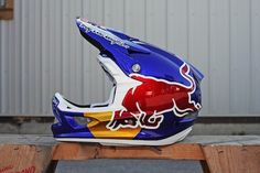 2012 redbull rampage helmets for Brandon Semenuk and Cam Zink. Troy Lee Designs D3 helmets, painted by Troy Lee Designs. Cam's has some copper leaf in it and some matching copper TLD Oakleys. Full metal flake on Brandon Semenuk's helmet