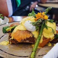 Salmon Royal  @cafe2twentyfour with asparagus  and poached eggs  //  breakfast  @morsels_perth @andoo_one5six4