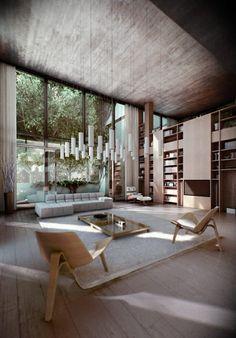 Wohnzimmer mit niedrigem Kaffeetisch und zwei Holzstühle mit drei Beinen