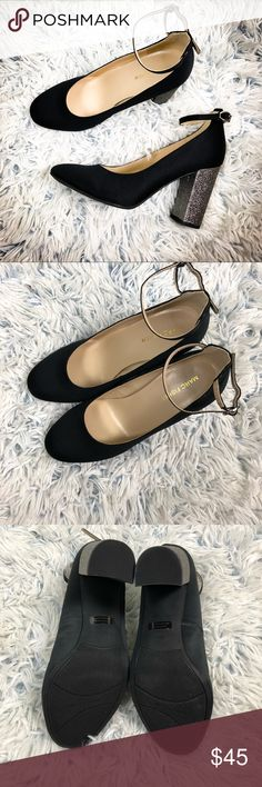 """Marc Fisher Satin Pumps with Glitter Heels 8 1/2 New without tags  In excellent condition  No flaws Heel Height: 3 3/4"""" Marc Fisher Shoes Heels"""