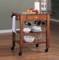 Granite Top Rolling Kitchen Island With Wine Storage