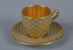 Coalport Porcelain (Shropshire, England) — 'Jewelled' Cup and Saucer (804x550)