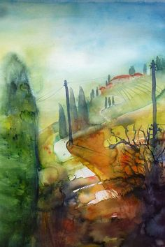 landschaften Watercolor Landscape, Watercolor And Ink, Impressionism, Lovers Art, Painting & Drawing, Heaven, Colours, Drawings, Places