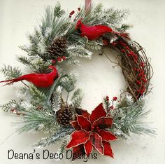 This beautiful grapevine wreath was made on an 18 inch grapevine base with greenery with snowy tips and berries. 2 Cardinals 1 Buffalo plaid and red Poinsettia Wreath Crafts, Diy Wreath, Christmas Projects, Christmas Crafts, Merry Christmas, Christmas Ornaments, Christmas Swags, Wreath Ideas, Grapevine Christmas