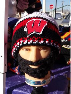 University of Wisconsin Badgers Bearded Beanie by DWedgeCreations #UniversityWisconsinBadgers #BeardedBeanie #WisconsinBadgers #UVBadgers #Sweet16 #Basketball #marchmadness #Crocheted #custom #DWedgeCreations #Etsy by DWedgeCreations http://etsy.me/2mEBTGn via @Etsy