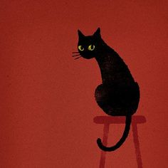 Black cat illustration, cat illustrations, black cats, black ca Cute Kittens, Cats And Kittens, Kitty Cats, Black Cat Art, Black Cats, Black Cat Drawing, Crazy Cats, Cat Love, Animal Drawings